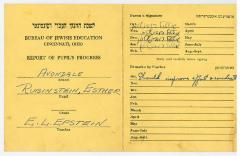 Bureau of Jewish Education, Cincinnati, Ohio - Report of Pupil's Progress for Esther Rubenstein [n/k/a Esther Deutch] - Avondale School - E. L. Epstein Teacher