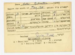 Bureau of Jewish Education, Cincinnati, Ohio - Report for Esther Rubenstein [n/k/a Esther Deutch] for Month of May 1935