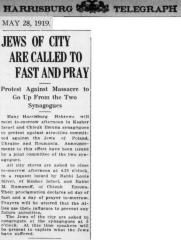 Article Regarding Jews of Harrisburg PA Protesting the 1919 Massacres of Jews in Eastern Europe