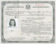 U.S. Certificate of Naturalization - Gertrud Susan Freudenthal