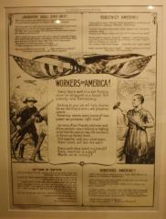 World War I Poster (1918) - Workers of America Call to action by the Association of Manufacturers