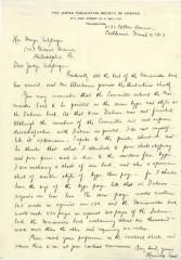 Letter from Henrietta Szold to Hon. Mayer Sulzberger Regarding a Book on Maimonides