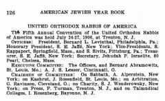 Bio of Agudas HaRabonim, United Orthodox Rabbis of America, from 1906-1907 American Jewish Yearbook