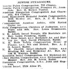 Listing of Cincinnati Synagogues from 1922 Edition of Williams' Cincinnati City Directory