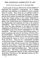 "Article Entitled ""The Cincinnati [Jewish] Community in 1825"" by Rev David Philipson D. D."