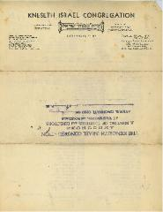 1935 Letter for Kneseth Israel Congregation Listing Officers