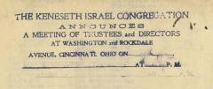 "Board Meeting Notice ""Stamp"" from 1930s for Kneseth Israel Congregation (Cincinnati, Ohio)"