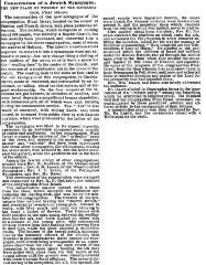 Article Regarding the 1860 Consecration of B'Nai Israel's New Synagogue (Cincinnati, Ohio)