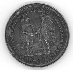 """David & Jonathan Biblical Medal Depicting the dramatic moment when Jonathan met David at a pile (or """"ezel"""") of stone to warn him that Saul intended to kill him"""