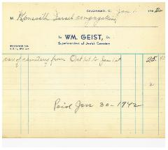Invoices from William Geist, Superintendent of Jewish Cemetery, for Cemetery Upkeep