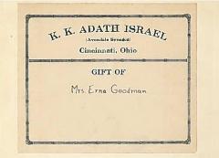 Bookplate & Stamp from Adath Israel Congregation, Cincinnati, Ohio
