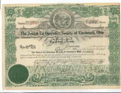 The Jewish Co-Operative Society of Cincinnati Capital Stock Certificate from 1920