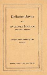 Program for the Dedication Service of the Avondale Synagogue, Adath Israel Congregation (Cincinnati, Ohio)