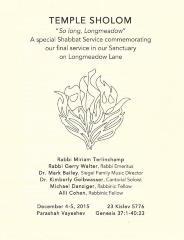 "Temple Sholom ""So Long, Longmeadow."" A Special Service Commemorating the Final Service in the Sanctuary on Longmeadow Lane, 2015 (Cincinnati, OH)"