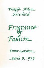 Temple Sholom Sisterhood Presents Fragrance of Fashion Donor Luncheon, 1978 (Cincinnati, OH)