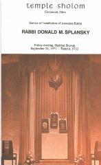 Temple Sholom Service of Installation of Associate Rabbi, Rabbi Donald M. Splansky Program, 1971 (Cincinnati, OH)
