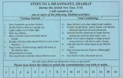 "Adath Israel's ""Steps to a Meaningful Shabbat"" Commitment Card (Cincinnati, OH)"