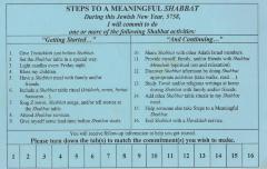 "Adath Israel's ""Steps to a Meaningful Shabbat"" Commitment Card (Cincinnati, OH)"