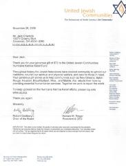 Typed Letter from United Jewish Communities re: Hurricane Katrina Relief Fund, November 28, 2005