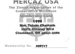 Membership card for Mrs. Tulane Chartock for Marcaz USA: The Zionist Organization of the Conservative Movement
