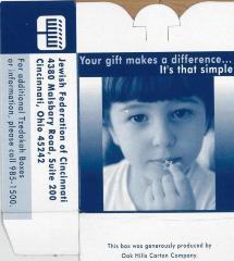 Jewish Federation of Cincinnati Charity / Tzedakah Box (Cincinnati, OH) from 2002 Campaign
