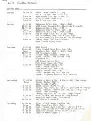 Typed Schedule of Standing Meetings for Adath Israel (Cincinnati, OH)