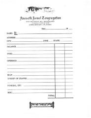 Membership worksheet for Kneseth Israel Congregation (Cincinnati, Ohio) from their Section Road location
