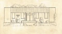 Illustration in black ink of Arthur Beerman Center at Miami University