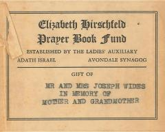 Bookplate from Elizabeth Hirschfeld Prayer Book Fund - Adath Israel Congregation (Cincinnati, OH)