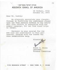Agudath Israel of America (New York, New York) - Thank You Letter re: Contribution Made, 1973