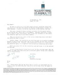 Agudath Israel of America (New York, New York) - Letter re: 59th Annual Convention, 1981