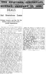 Article Regarding the 1900 Establishment of the Gemilas Chesed Society, Hebrew Free Loan Society of Cincinnati
