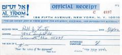 Al Tidom! (New York, New York) - Contribution Receipt (no. C4897), 1972