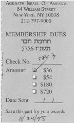 Agudath Israel of America (New York, New York) - Payment Stub, 1995