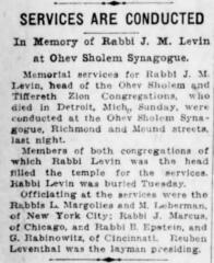Article Regarding the Death of Rabbi Joseph Meyer Levin in Cincinnati, Ohio