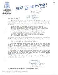 Agudath Israel of America (New York, New York) - Letter of Solicitation, 1992