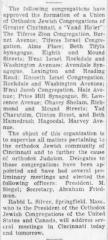 Articles Regarding the Founding of the VAAD Ho'ier of Cincinnati, Ohio (The Union of Orthodox Jewish Congregations of Greater Cincinnati) - 1931