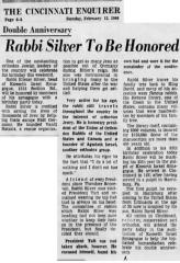 Article Regarding 85th Birthday Celebration of Rabbi Eliezer Silver in 1966