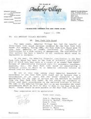 Amberly Village (Cincinnati, OH) - Letter of Solicitation, 1986