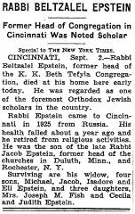 Obituary for Rabbi (Rav) Avroham Betzalel Epstein - September 3, 1938