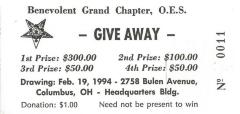 Benevolent Grand Chapter, O.E.S (Columbus, OH) - Raffle Tickets for Giveaway to be held February, 1994