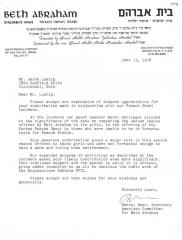 Beth Abraham, Inc. - Children's Orphan Home (Petach Tikva, Israel) - Letter re: Contribution Made in Conjunction with Annual Luncheon, 1978