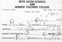 Beth Jacob and Hebrew Teachers College (New York, NY) - Contribution Receipt (no. 24227), 1974