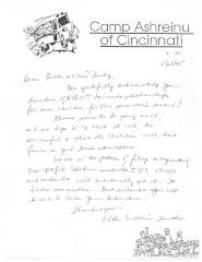 Thank You Letter from Camp Ashreinu of Cincinnati to the Lustigs for their Contribution, 1995