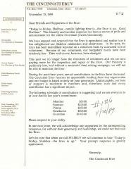 The Cincinnati Eruv (Cincinnati, OH) - Letter of Solicitation, 1989