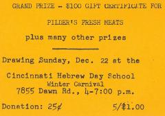 Cincinnati Hebrew Schools (Cincinnati, OH) - Raffle Tickets for Winter Carnaval Festival Raffle, 1973
