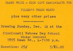 Cincinnati Hebrew Schools (Cincinnati, OH) - Raffle Tickets for Winter Carnaval Festival Raffle, 1973