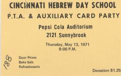 Cincinnati Hebrew Day School (Cincinnati, OH) - Admit One Tickets to the PTA & Ladies Auxiliary Card Party, 1971