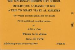 Cincinnati Hebrew Day Schools (Cincinnati, OH) - Raffle Ticket (nos. 794-799) for Scholarship Fund Raffle, 1972