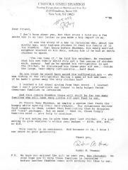 Chevra Oneg Shabbos (New York, NY) - Letter of Solicitation, 1994
